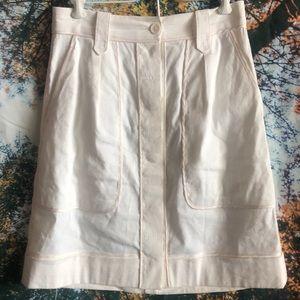 Elie Tahari white linen skirt